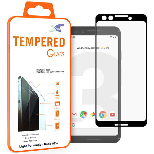 Full Coverage Tempered Glass Screen Protector for Google Pixel 3 - Black